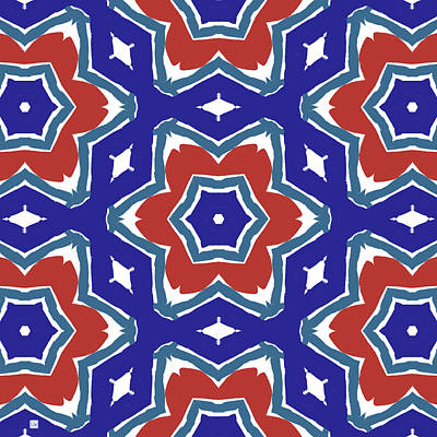 Red White And Blue Star Flowers 1- Pattern Art By Linda Woods Art Print by Linda Woods