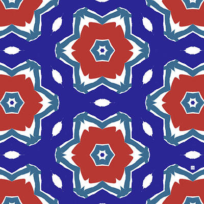 Red White And Blue Star Flowers 2 - Pattern Art By Linda Woods Art Print