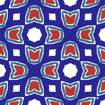 Red White And Blue Tulips Pattern- Art By Linda Woods Art Print by Linda Woods