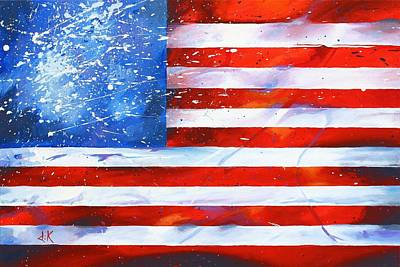 U S Flag Painting - Red White And Bold by David Keenan