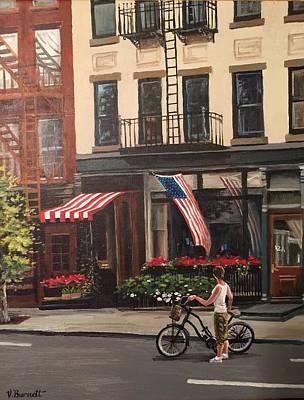 Girl On Bike Painting - Red, White, And True by Vicki Burnett