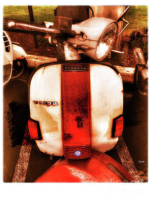 Transportation Photograph - Red White And Vespa  by Steven Digman