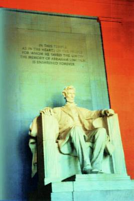 Lincoln Memorial Mixed Media - Red White Blue Lincoln by Desiree Paquette
