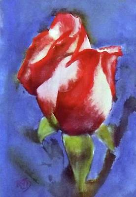 Painting - Red White Blue Patriotic Rose by Richard James Digance