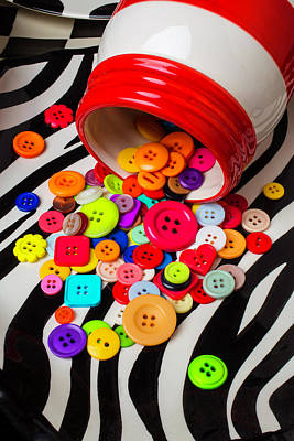 Photograph - Red White Jar Spilling Buttons by Garry Gay