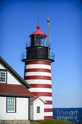 Photograph - Red White Striped Lighthouse by Alana Ranney
