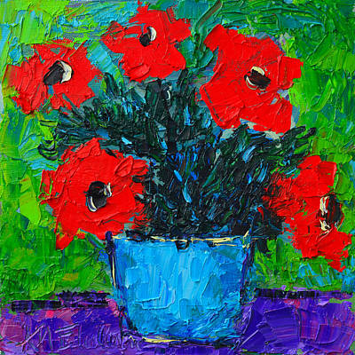 Vivid Colour Painting - Red Wildflowers Modern Impressionist Palette Knife Oil Floral Miniature By Ana Maria Edulescu by Ana Maria Edulescu