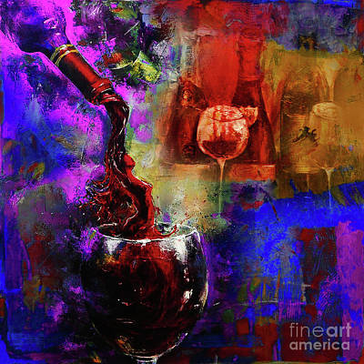 Wine-bottle Painting - Red Wine 02 by Gull G