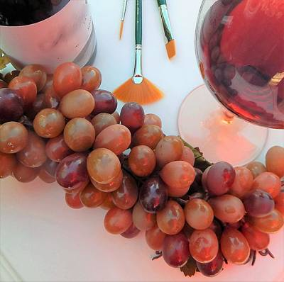 Digital Art - Red Wine And Brushes With Grapes by Lisa Kaiser