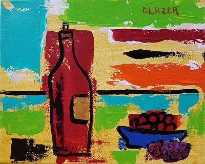 Wall Art - Painting - Red Wine And Grapes by Stuart Glazer