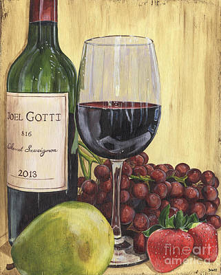 Bottle Painting - Red Wine And Pear 2 by Debbie DeWitt