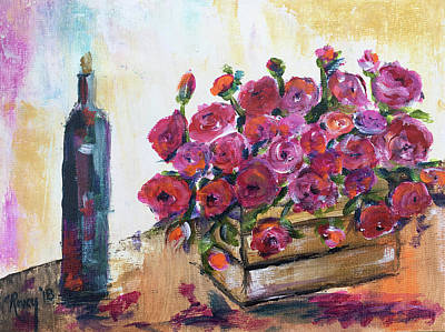 Food And Beverage Painting - Red Wine And Roses by Roxy Rich
