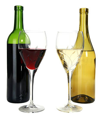 Of Wine Bottles Photograph - Red Wine And White Wine In Cut Crystal Wine Glasses  by Michael Ledray