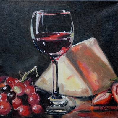 Painting - Red Wine Cheese Grapes Strawberries Still Life by Donna Tuten