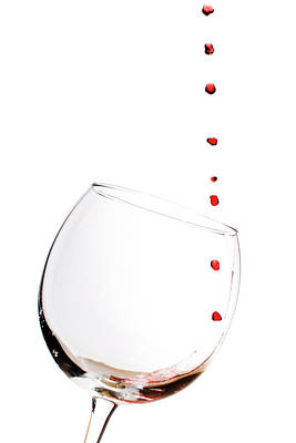 Water Drops Photograph - Red Wine Drops Into Wineglass by Dustin K Ryan
