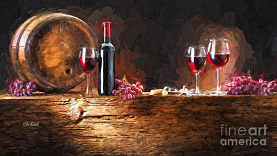 Wine Barrel Mixed Media - Red Wine by Garland Johnson