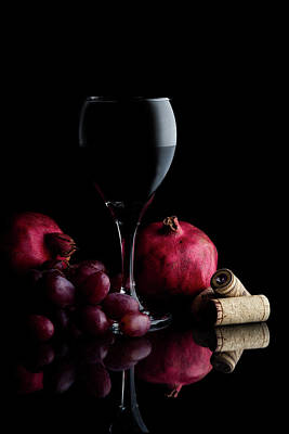 Stopper Photograph - Red Wine With Fruit by Tom Mc Nemar