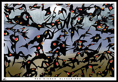 Painting - Red-winged Blackbirds by Larry Rice