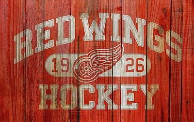 Mixed Media - Red Wings Hockey Barn Door by Dan Sproul