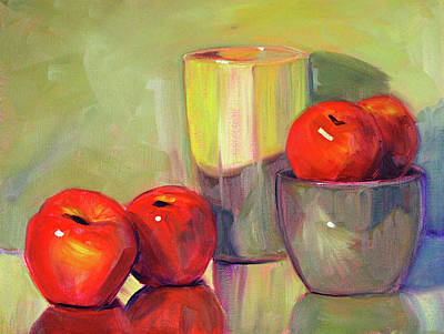 Painting - Red With Green by Nancy Merkle