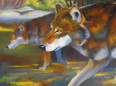 Painting - Red Wolves by Kaytee Esser