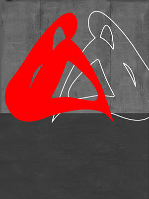 Geometric Form Painting - Red Woman by Naxart Studio