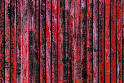 Weatherworn Photograph - Red Wood Box Car Detail by Garry Gay