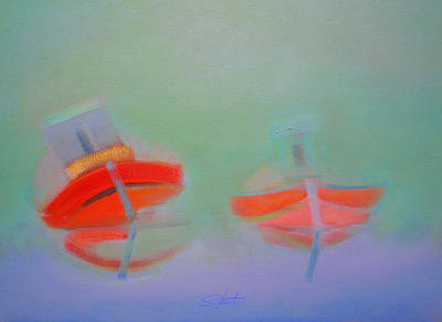 Boat Painting - Red Wooden Fishing Boats Settled In The Mud by Charles Stuart
