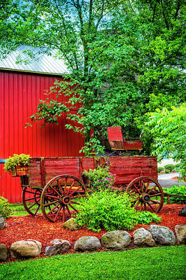 Photograph - Red Wooden Wagon by Debra and Dave Vanderlaan