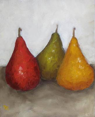 Red Yellow Green Pears Art Print