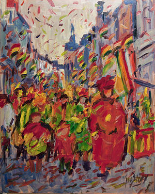 Painting - Red Yellow Green There They Come Vreug En Neugter by Nop Briex