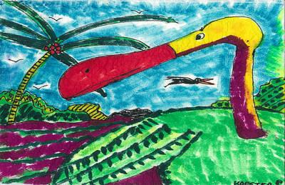 Stork Mixed Media - Redbill Stork by Don Koester