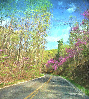 Photograph - Redbud Along The Way - Abstract Art by Kerri Farley