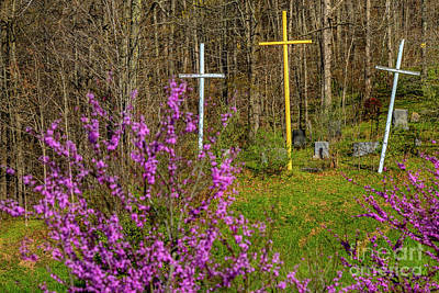 Photograph - Redbud And Three Crosses  by Thomas R Fletcher
