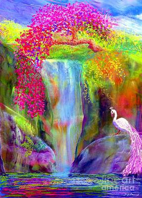 White Flowers Painting - Waterfall And White Peacock, Redbud Falls by Jane Small