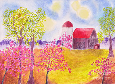 Painting - Redbud Trees In Spring Farm Scene by Conni Schaftenaar