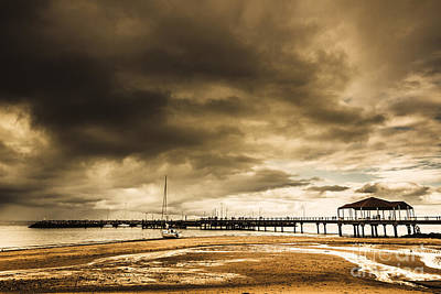 Storm Clouds Sunset Twilight Water Photograph - Redcliffe Jetty by Jorgo Photography - Wall Art Gallery