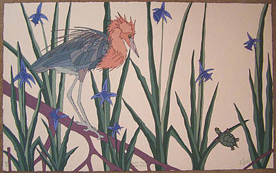 Dan Goad Painting - Reddish Egret With Turtle by Dan Goad