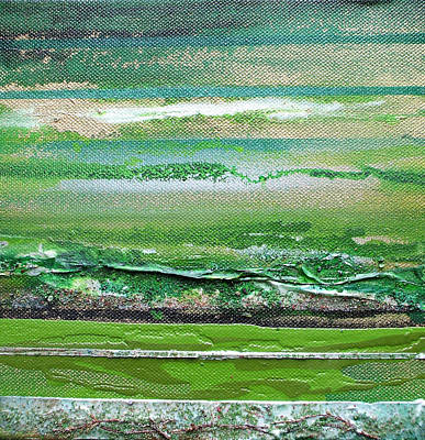 Redesdale Rhythms And Textures Series 3 Green And Gold Art Print by Mike   Bell