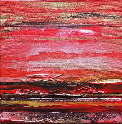 Redesdale Rhythms And  Textures Series  Red And Gold 3 Art Print by Mike   Bell