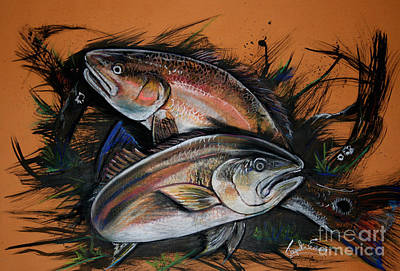 Mixed Media - Redfish Frenzy by Jacqueline Endlich