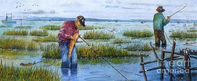 Wood Duck Painting - Redfishing by Don Hand
