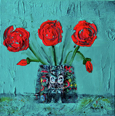 Painting - Red Flower Magic by Haleh Mahbod