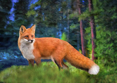 Digital Art - Red Fox by Bill Johnson