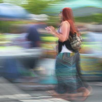 Photograph - Redhead, Blue Green Skirt by Dutch Bieber