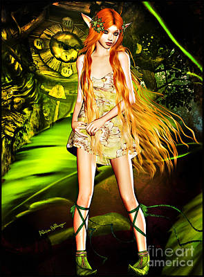 Digital Art - Redhead Forest Pixie by Alicia Hollinger