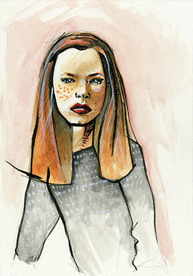Redhead In Freckled Black Print by Rob Tokarz
