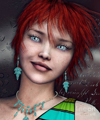 Digital Art - Redhead by Jutta Maria Pusl