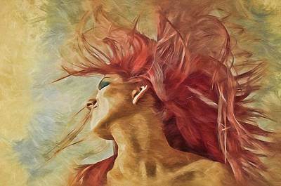 Digital Art - Redhead  by Louis Ferreira