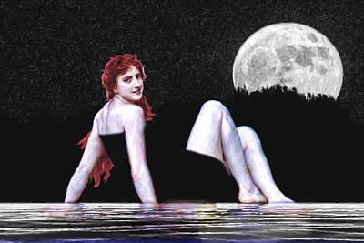 Photograph - Redhead On A Moonlit Lake by John Haldane